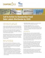 Call to Action to Standardize Food Date Labels Worldwide by 2020